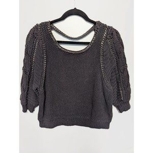 Rebecca Taylor | Puff Sleeve Knit Sweater with Chain detail